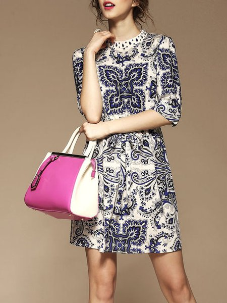 Multicolor Silk-blend Printed Half Sleeve A-line Mini Dress