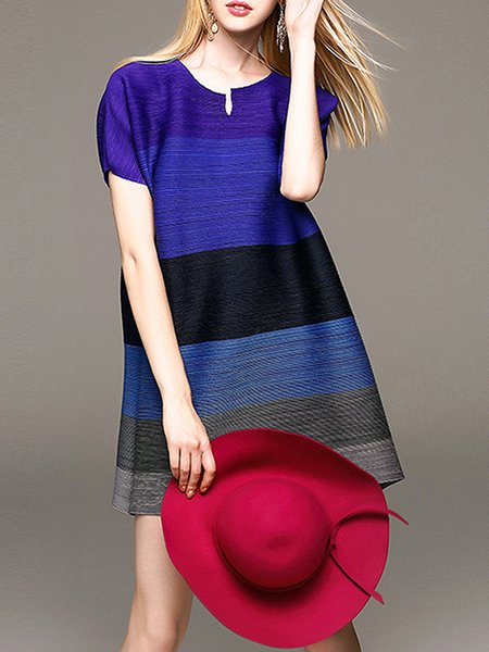 Purplish Blue Ribbed Crew Neck Short Sleeve Mini Dress