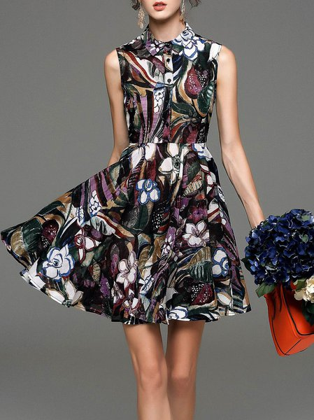Floral Vintage Sleeveless Shirt Collar Mini Dress
