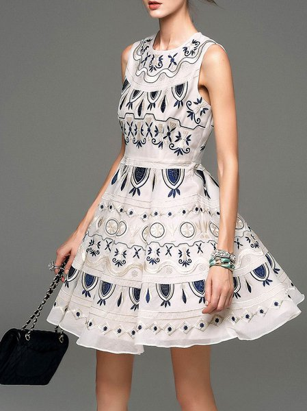 Apricot Cotton Embroidery Sleeveless Mini Dress