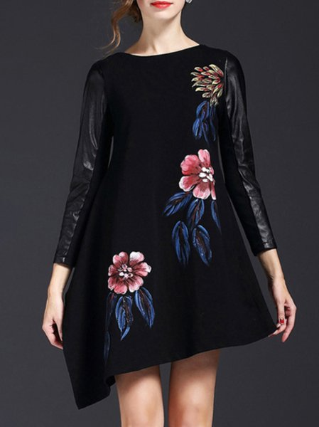Black 3/4 Sleeve Swing Mini Dress