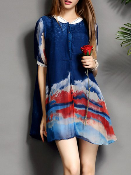 Dark Blue Printed Casual Shirt Dress