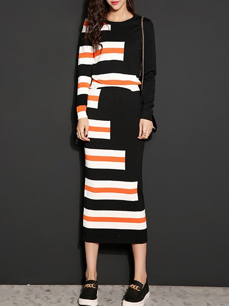 Long Sleeve Stripes Casual Viscose Crew Neck Two Piece Midi Dress