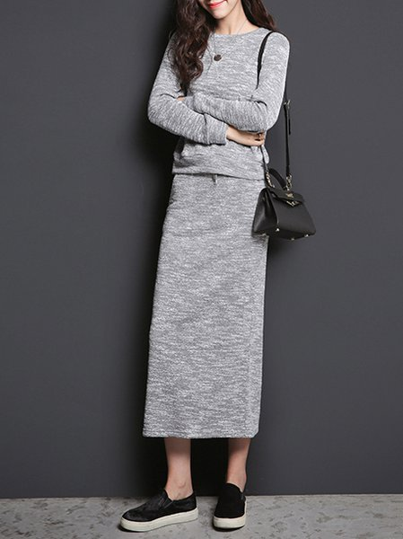 Crew Neck Plain Casual Long Sleeve Two Piece Maxi Dress
