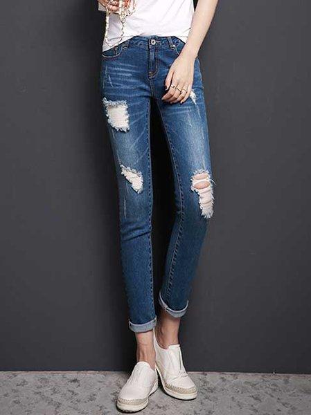 Pockets Denim Ripped Skinny Leg Pants