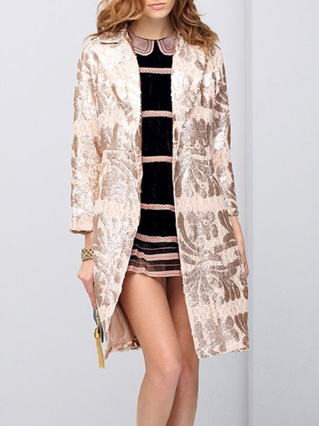 Golden Floral Lapel Long Sleeve Coat