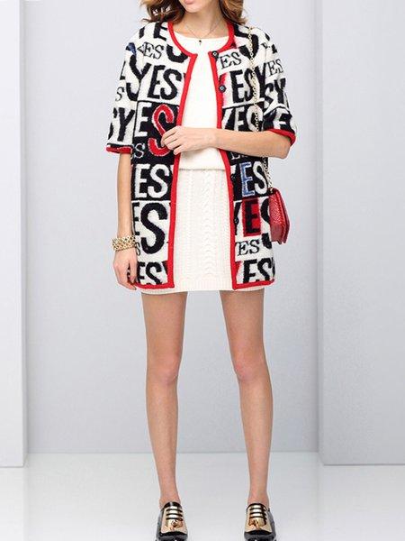 Gray Letter Short Sleeve Cashmere Coat