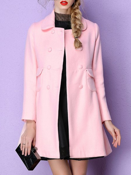 Pink Plain Buttoned Sweet Coat