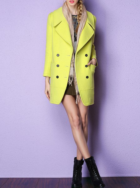 Yellow Long Sleeve Wool Blend Coat