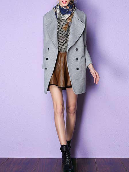 Gray Long Sleeve Wool Blend Buttoned Coat