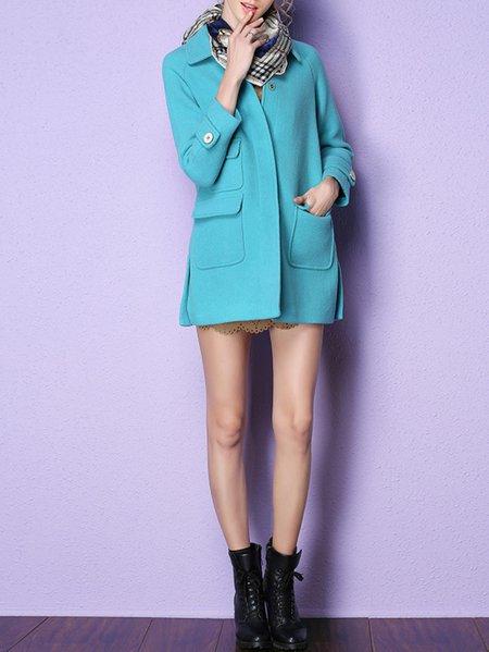 Blue Pockets Wool Blend Plain Casual Coat