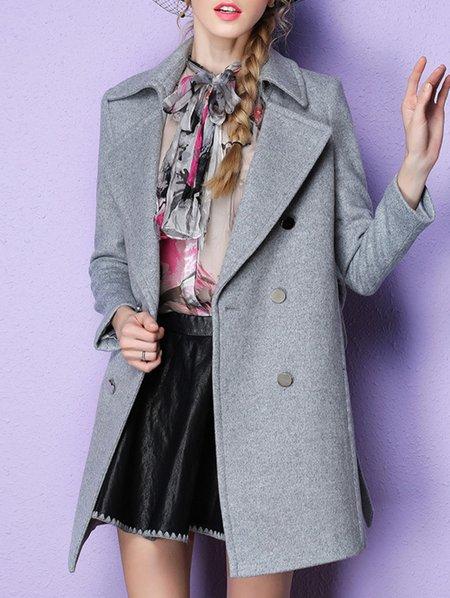 Work Long Sleeve Wool Blend Coat
