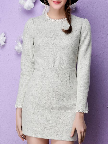 Gray Zipper Wool Blend Long Sleeve Mini Dress