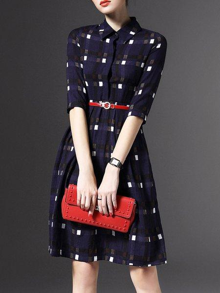 Purplish Blue Polyester Buttoned Long Sleeve V Neck Midi Dress