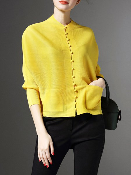 Yellow Plain H-line Elegant Ribbed Cropped Jacket