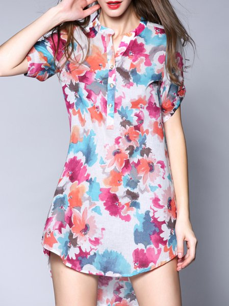Red Floral Printed Short Sleeve Polyester Mini Dress