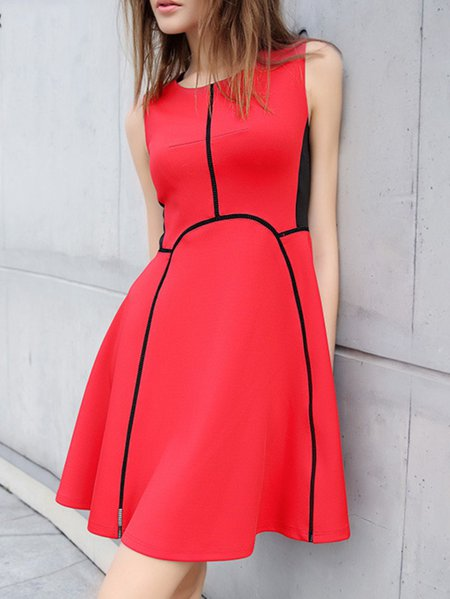 Red Paneled Sleeveless Polyester Mini Dress