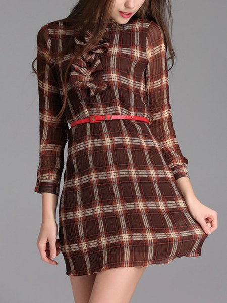 Wine Red Checkered/Plaid Long Sleeve Mini Dress