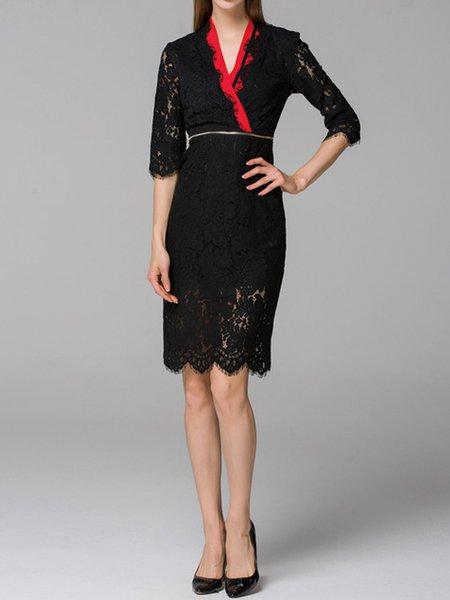 Black Half Sleeve V Neck Pierced Lace Midi Dress