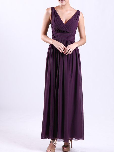 Gray Sleeveless Plain Chiffon Maxi Dress