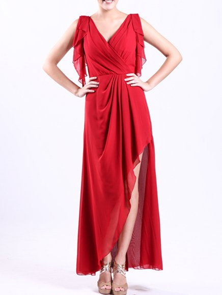 Red Asymmetric Sleeveless Chiffon Maxi Dress