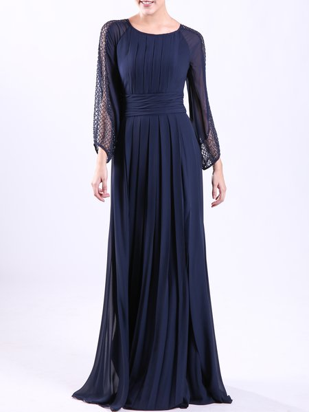 Blue Beaded Plain Long Sleeve Maxi Dress