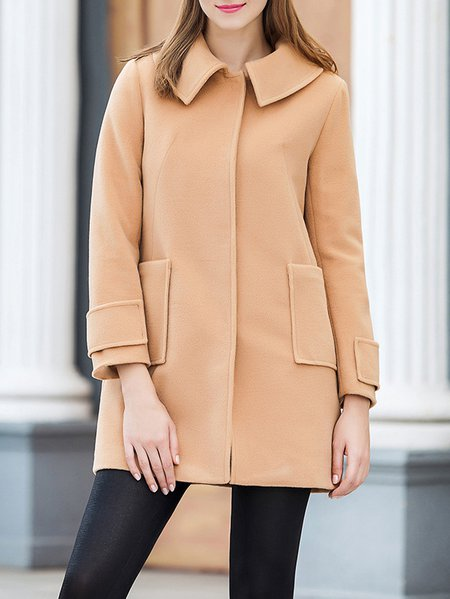 Khaki Plain Long Sleeve Buttoned Peter Pan Collar Coat