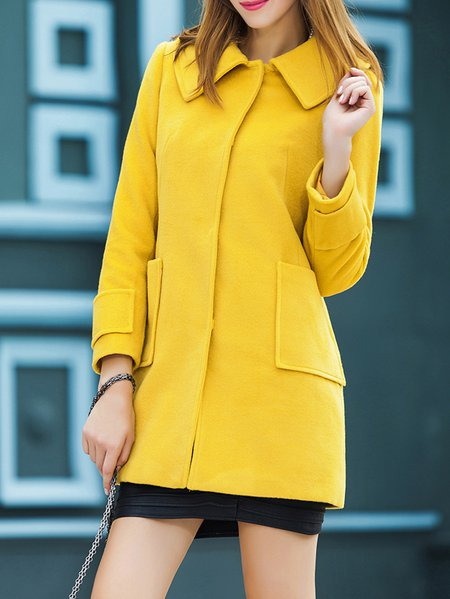 Yellow Polyester Long Sleeve Peter Pan Collar Coat