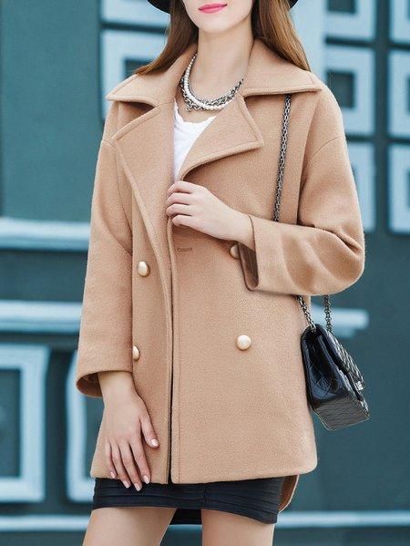 Khaki Plain Buttoned Long Sleeve Coat