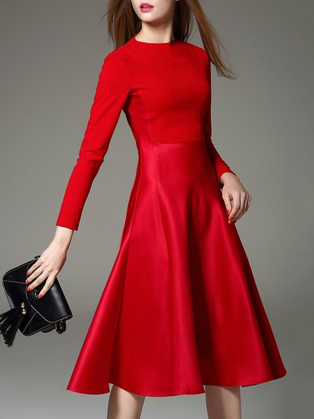 Red Polyester Long Sleeve Midi Dress