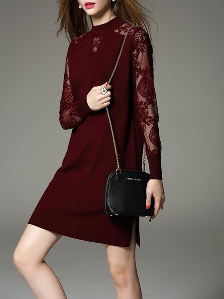 Burgundy Paneled H-line Long Sleeve Cotton-blend Mini Dress