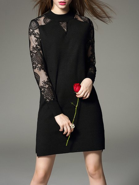 Black H-line Cotton-blend Long Sleeve Mini Dress