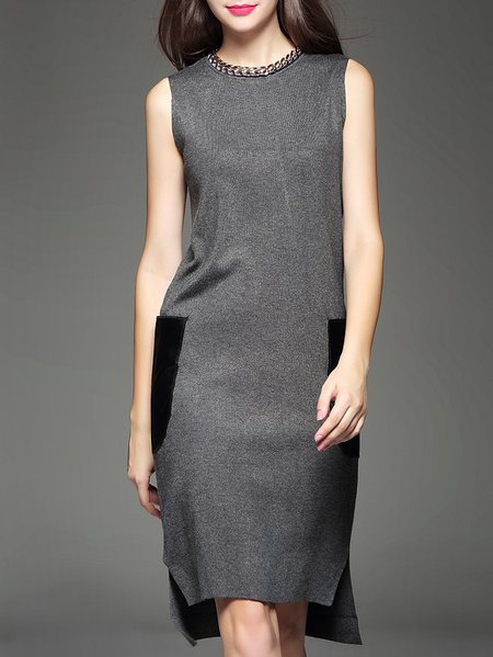 Gray Wool Blend Sleeveless Mini Dress