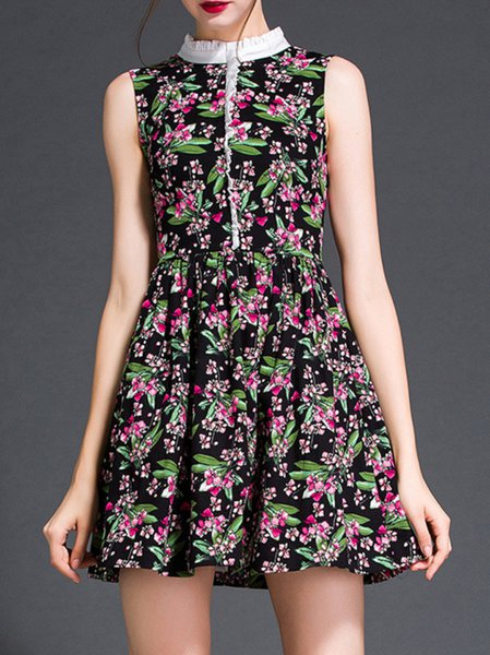 Black Floral Sleeveless Turtleneck Mini Dress