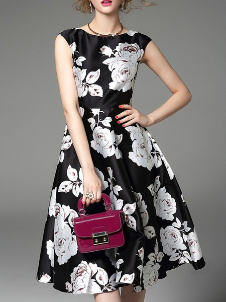 Crew Neck Sleeveless Floral-print Midi Dress