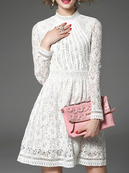 White Lace Floral Elegant Stand Collar Mini Dress
