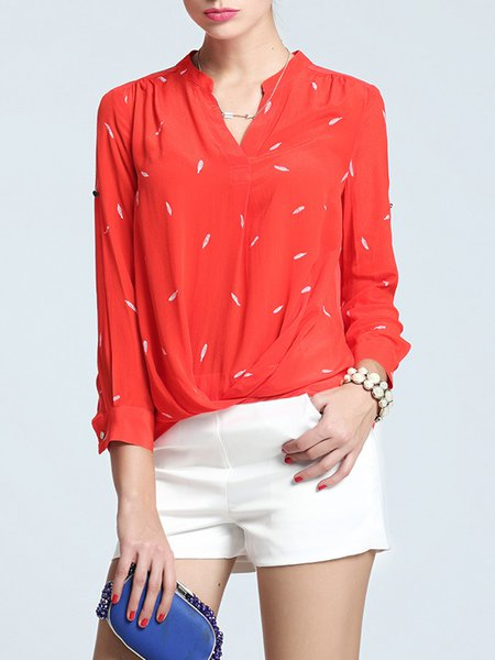 Red Casual Printed Blouse