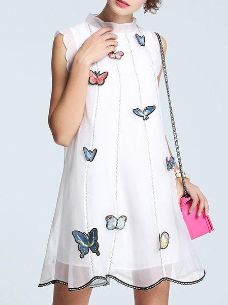 Girly Sleeveless Appliqued Mini Dress