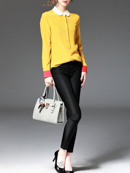 Yellow Color-block Long Sleeve Blouse