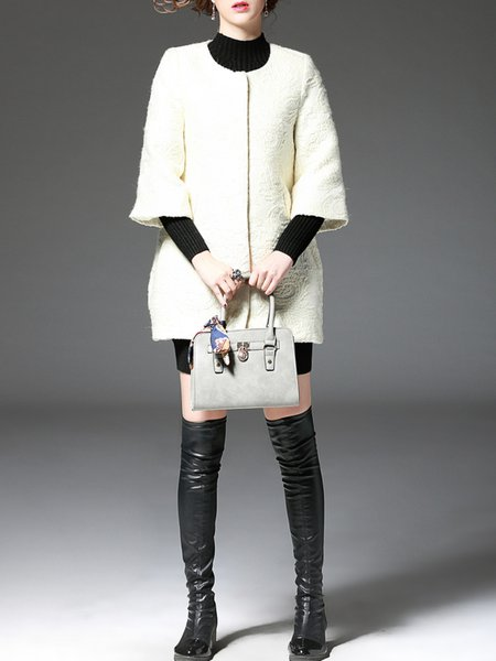 Beige Jacquard 3/4 Sleeve Plain Coat