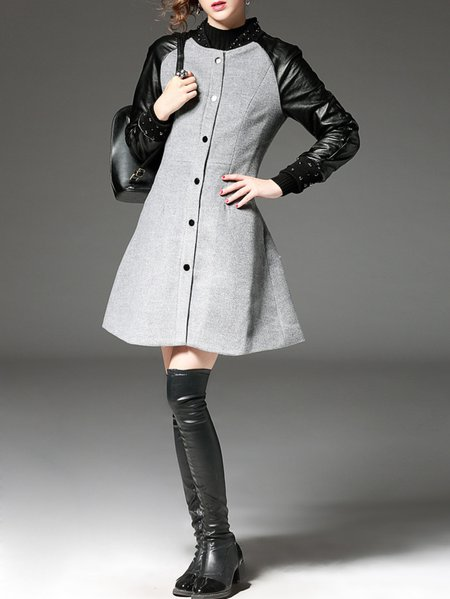 Gray Polyester Paneled Long Sleeve Coat