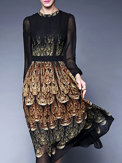 Elegant A-line Printed Long Sleeve Midi Dress