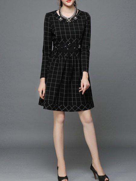 Black Beaded Long Sleeve Mini Dress