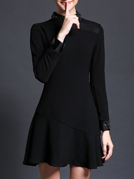 Black Long Sleeve Polyester Flounce Beaded Mini Dress