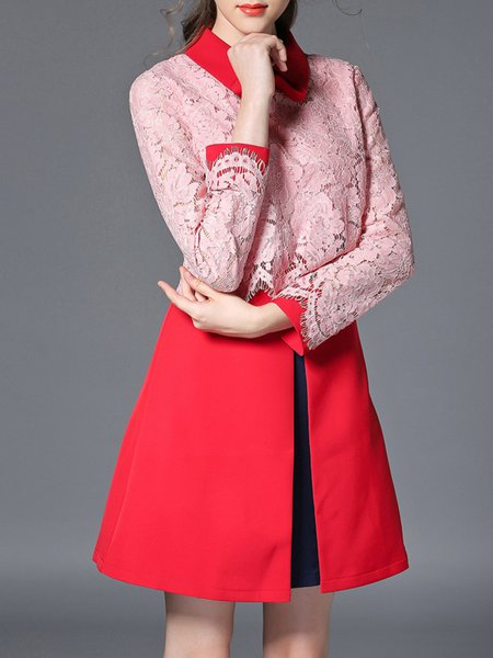 Red Lace Long Sleeve Mini Dress