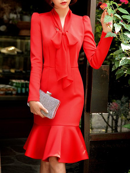 Red Polyester Midi Dress