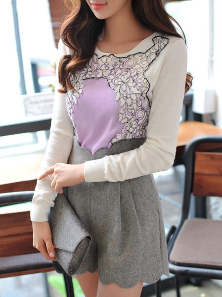 Purple Appliqued Long Sleeve Sweater