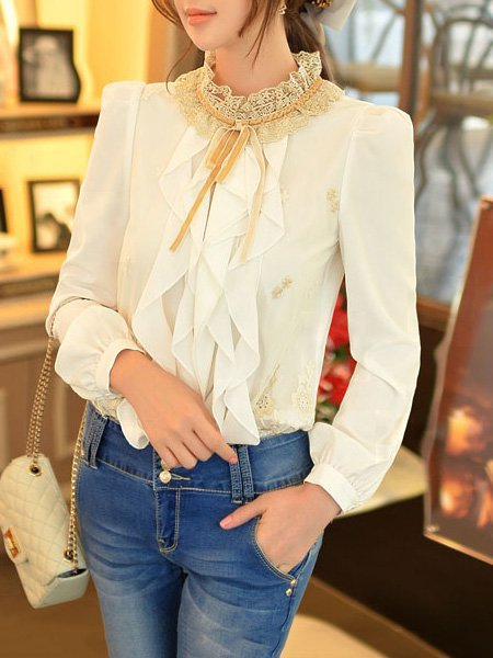 White Sweet Polyester H-line Ruffled Blouse
