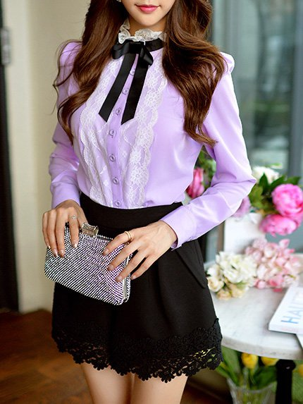 Sweet H-line Turtleneck Long Sleeve Blouse