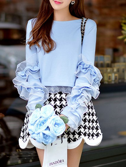 Blue Polyester Sweet Long Sleeved Top